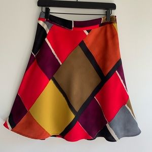 Ann Taylor LOFT Fit & Flare Skirt Bold Print Sz 2